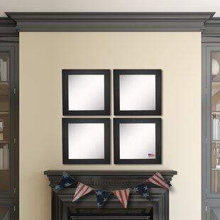 Ebern Designs Waite Black Satin Wide Wall Mirror (Set of 4)