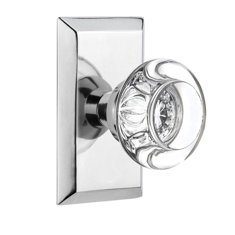 Nostalgic Warehouse Round Clear Crystal Glass Privacy Door Knob with ...