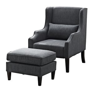 Ashbury Wingback Chair and Ottoman by Simpli..