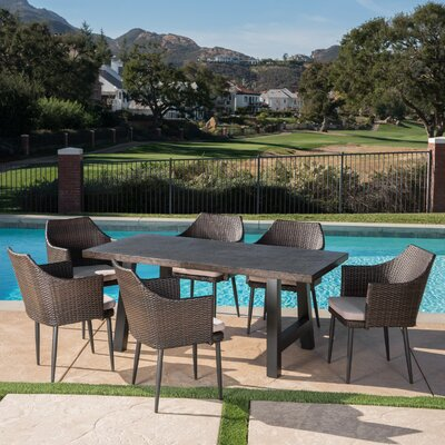 Dossantos Outdoor 7 Piece Dining Set With Cushions by 17 Stories Cheap