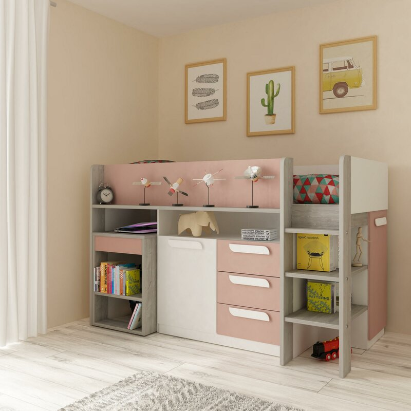 Ryland European Single Mid Sleeper Bed with Chest of Drawers from Harriet Bee