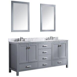 Tia 72 Double Bathroom Vanity Set with Mirror by Brayden Studio