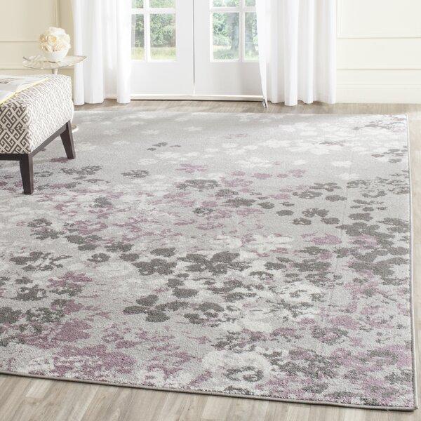 alan light grey/purple area rug & reviews | joss & main