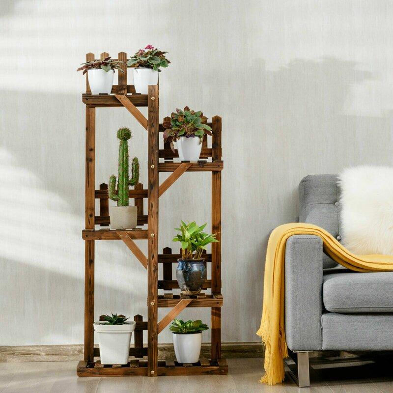 Costway Tier Wood Pots Display Shelf