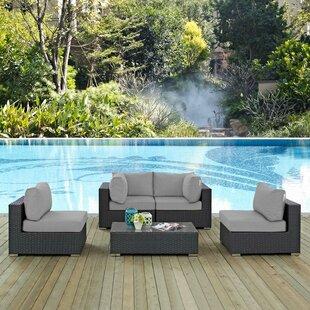 Brayden Studio Leda 5 Piece Rattan Sunbrella Sectional Seating Group with Cushions