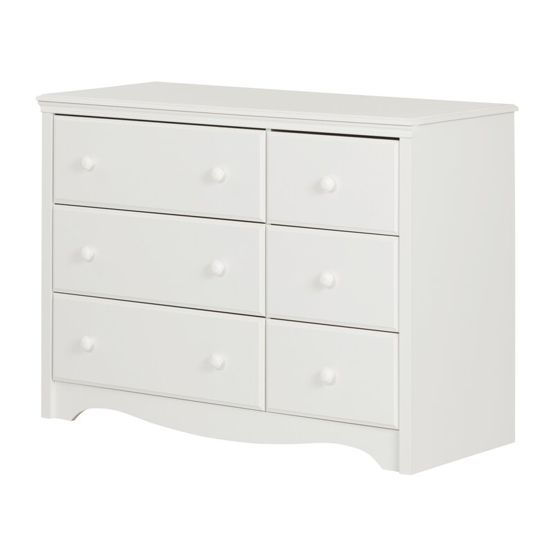 Angel Line 6 Drawer Dresser Storage Solid Wood White Modern Home Furniture New