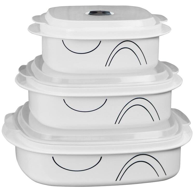 Simple Lines Microwave Cookware 3 Container Food Storage Set