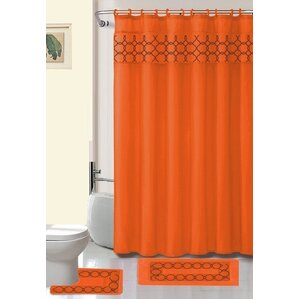 Charming Avelaine Shower Curtain Set  Orange Shower Curtain