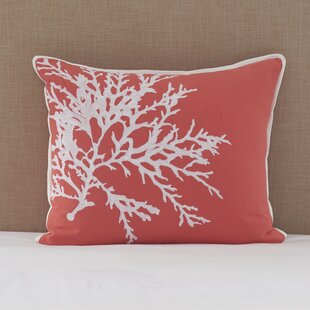Charleston Embroidered Coral Cotton Lumbar Pillow