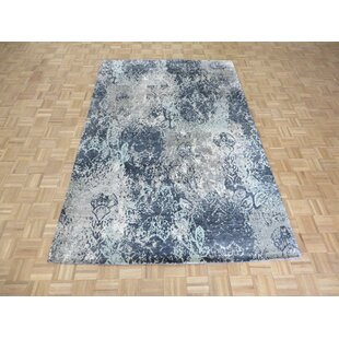 Reviews One-of-a-Kind Downey Hand-Knotted 6' x 9'2 Wool/Silk Black/Beige Area Rug By Isabelline