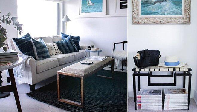 Blue-hued apartment
