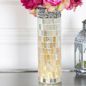 Beaded Mosaic LED Lit Table Vase