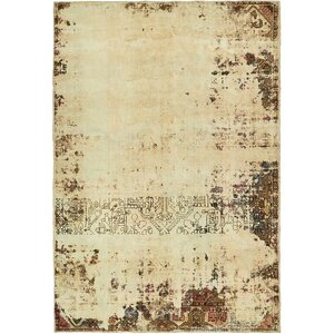 Sela Vintage Persian Hand Woven Dyed Wool Beige Border Area Rug