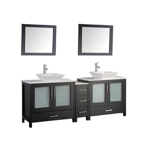 Powley 72 Double Sink Bathroom Vanity Set with Mirrors by Orren Ellis