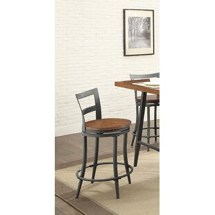Kinsley Wood & Metal Counter Height Swivel Bar Stool (Set of 2) 17 Stories