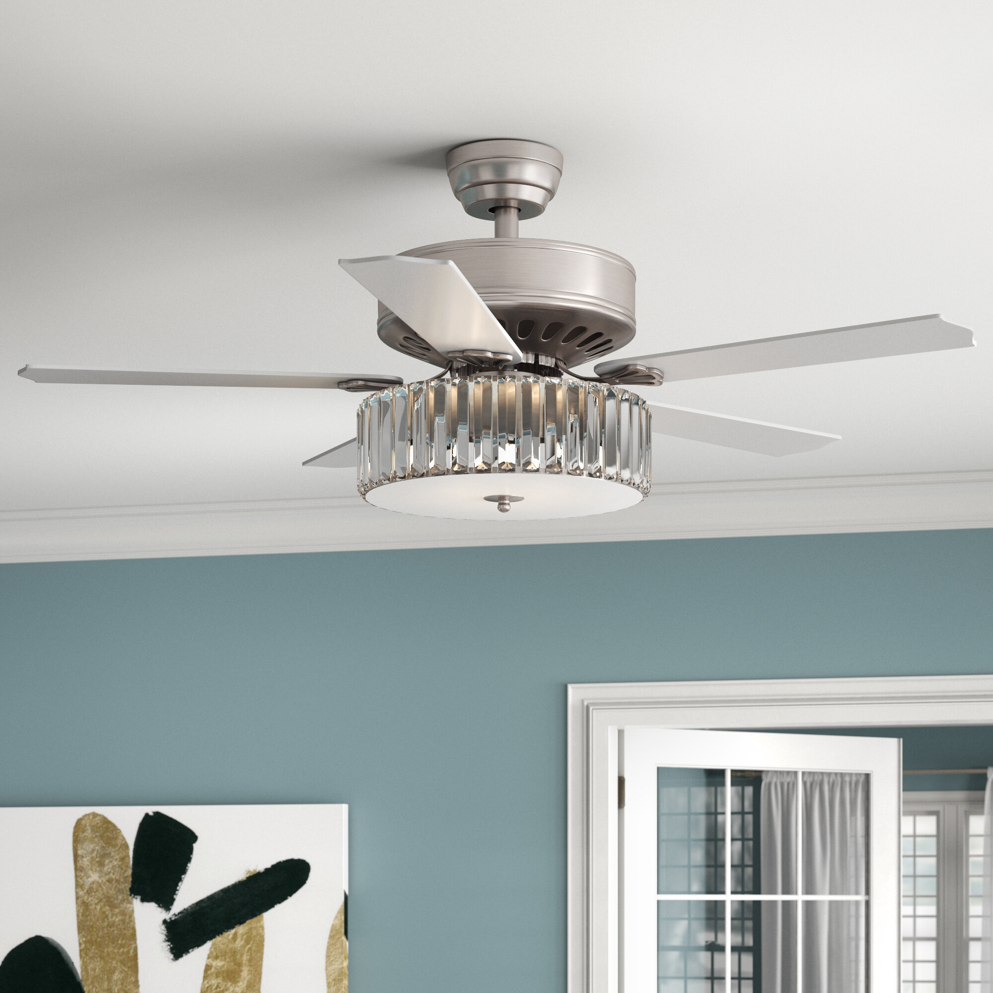 52 Dixie Crystal 5 Blade Ceiling Fan