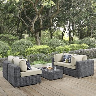 Brayden Studio Keiran 5 Piece Rattan Sunbrella Sectional Set with Cushions