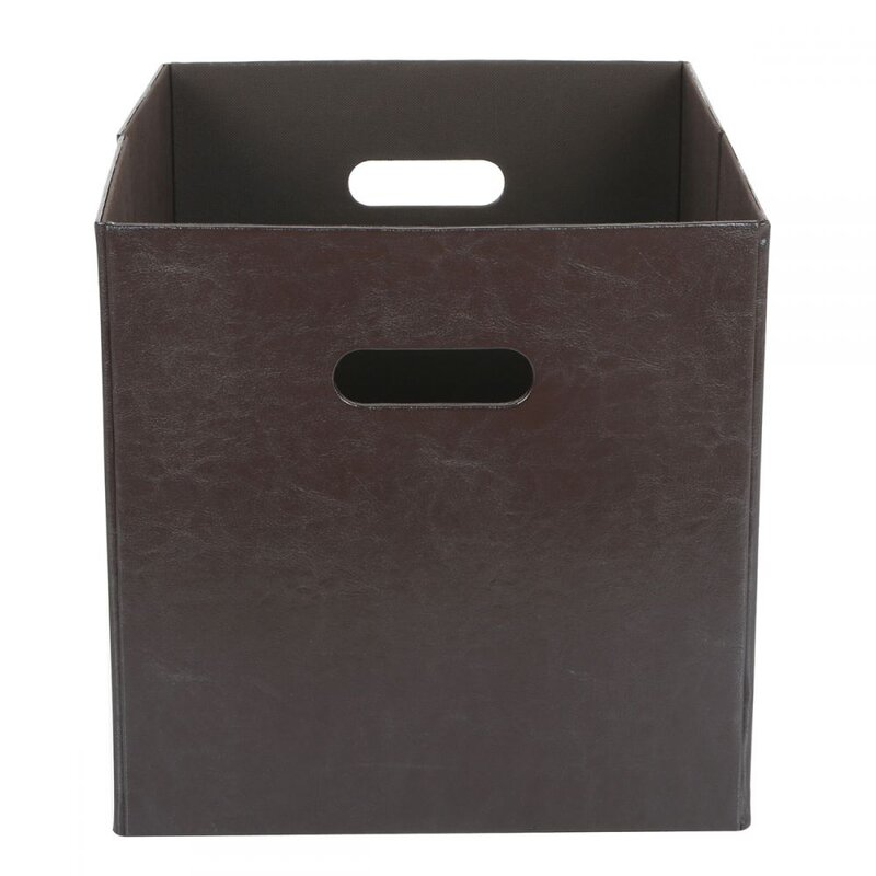 Faux Leather Collapsible Storage Bin