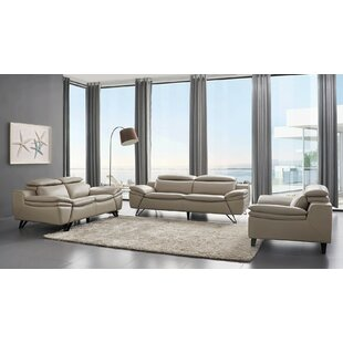 Ebenezer 3 Piece Leather Living Room Set By Orren Ellis