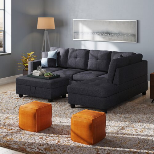 Incredible Mendoza Right Hand Facing Sectional With Ottoman Ncnpc Chair Design For Home Ncnpcorg