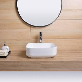 Topcraft White Ceramic Square Vessel Bathroom Sink Wayfair