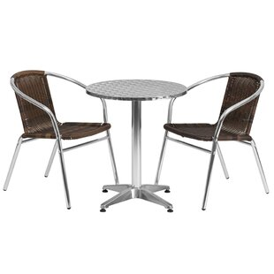 Ebern Designs Emrys Round Indoor Outdoor 3 Piece Bar Height Dining Set