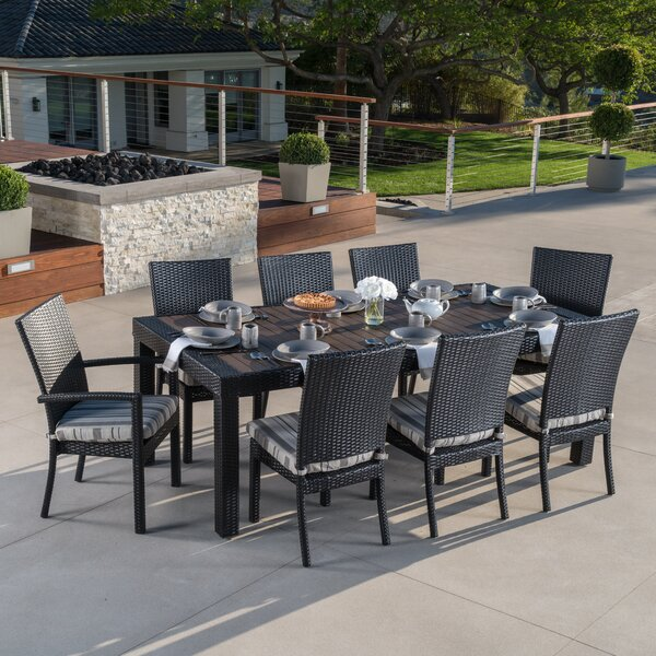 Three Posts Evansville 9 Piece Outdoor Dining Set With Cushion