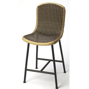 Machado Rattan and Iron 24.5 Bar Stool by Bayou Breeze