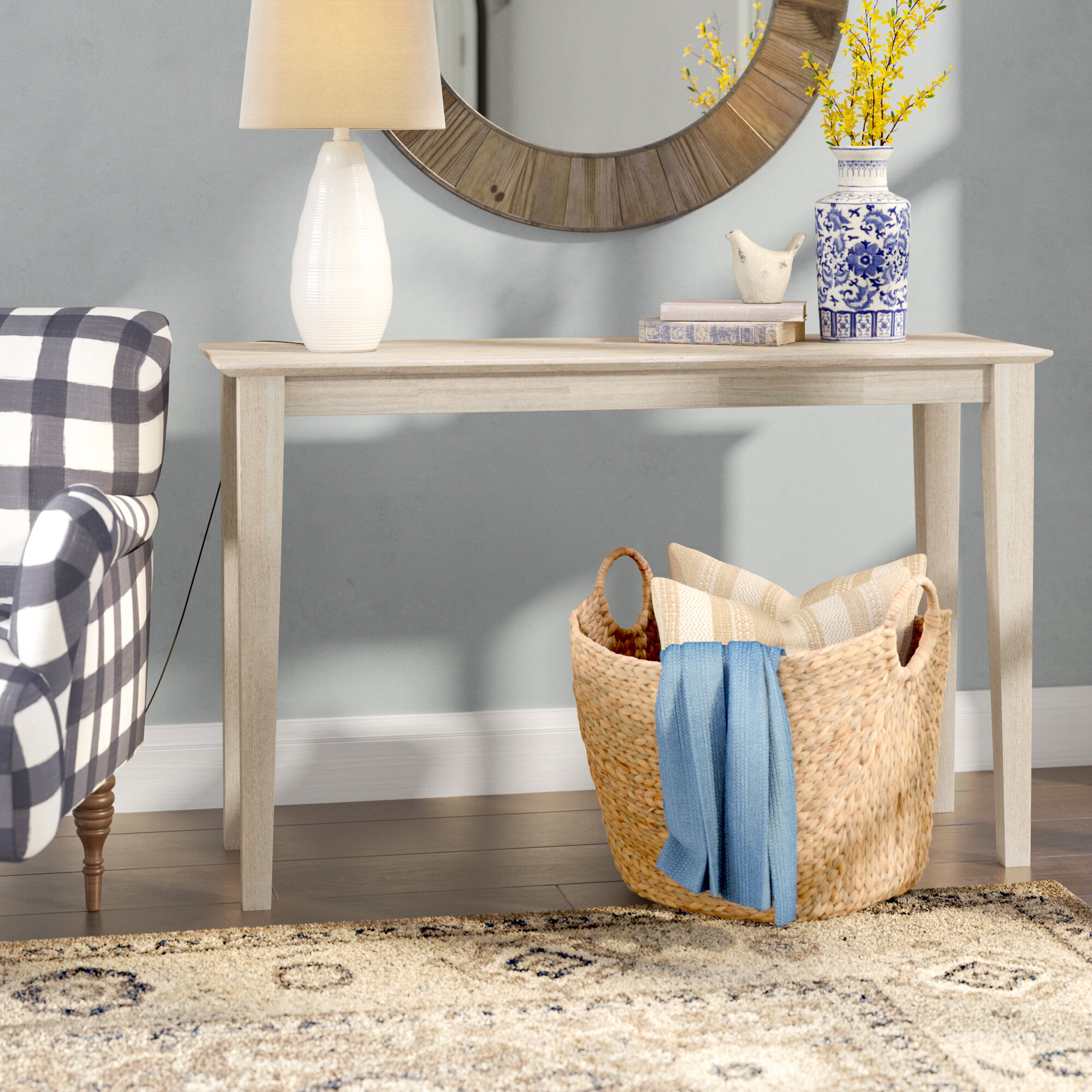 Picture of: Mistana Kaiser Solid Wood Console Table Reviews Wayfair