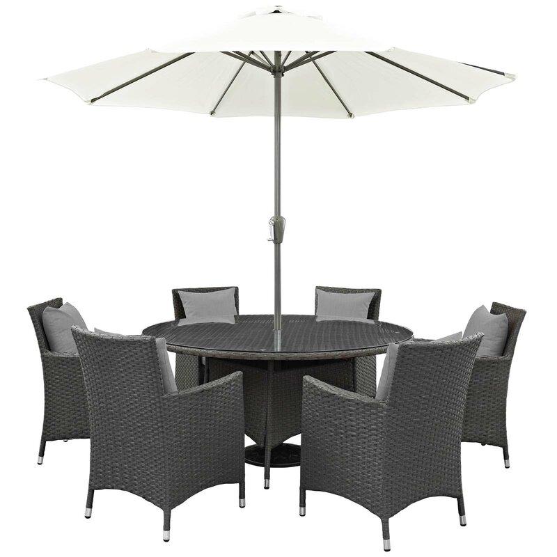Brayden Studio Tripp 8 Piece Dining Set With Sunbrella Cushions And