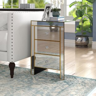 Bowerman 3 Drawer Mirrored End Table