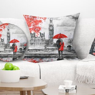 Landscape Printed Couples Walking in Paris Pillow