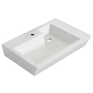 Affordable Ceramic Rectangular Vessel Bathroom Sink with Overflow By Royal Purple Bath Kitchen