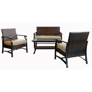 Alcott Hill Tustin 4 Piece Rattan Sofa Seating Group with Cushion