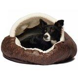 Iowa Vegan Leather Deep Dish Cave Hooded Dog Bed
