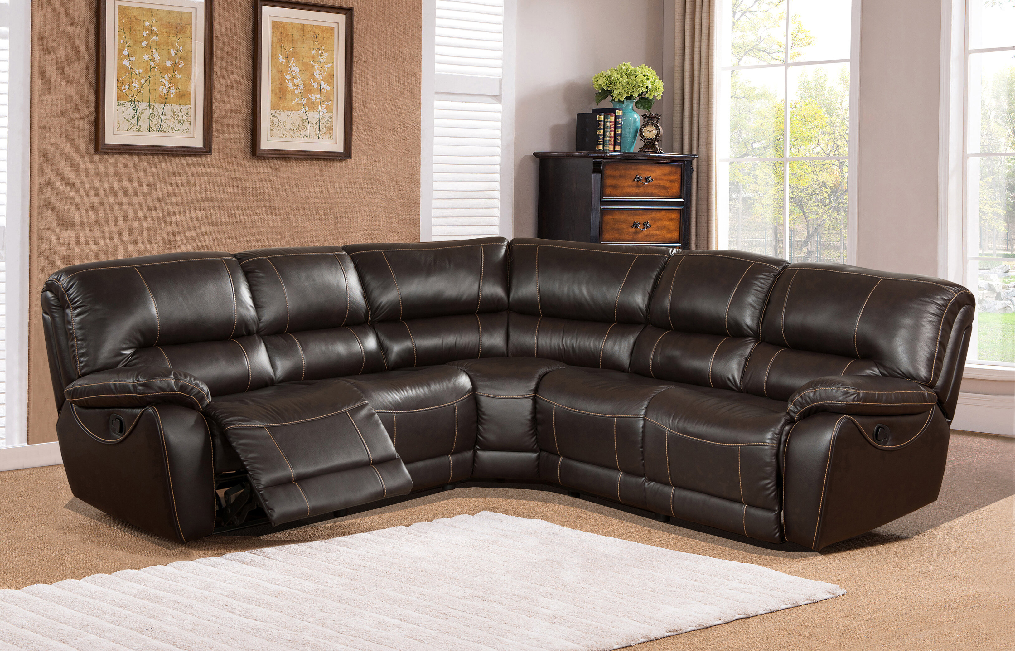 piece reclining coaster sofa product mackenzie leather products with silver color style casual sectional
