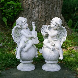 Northlight Seasonal Cherub Angels with Instruments Sitting on Finials 2 Piece Statue Set
