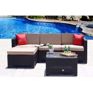 Rita Outdoor 5 Piece Rattan Sofa Set with Cushions