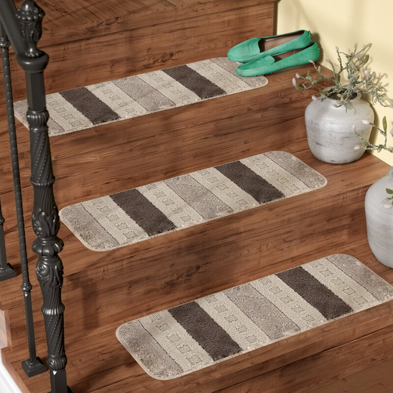 Andover Mills Carreras Striped Gray Stair Tread