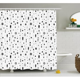 Kristy Tribal Plain Background With Arrows Feathers and Aztec Style Geometric Print Single Shower Curtain