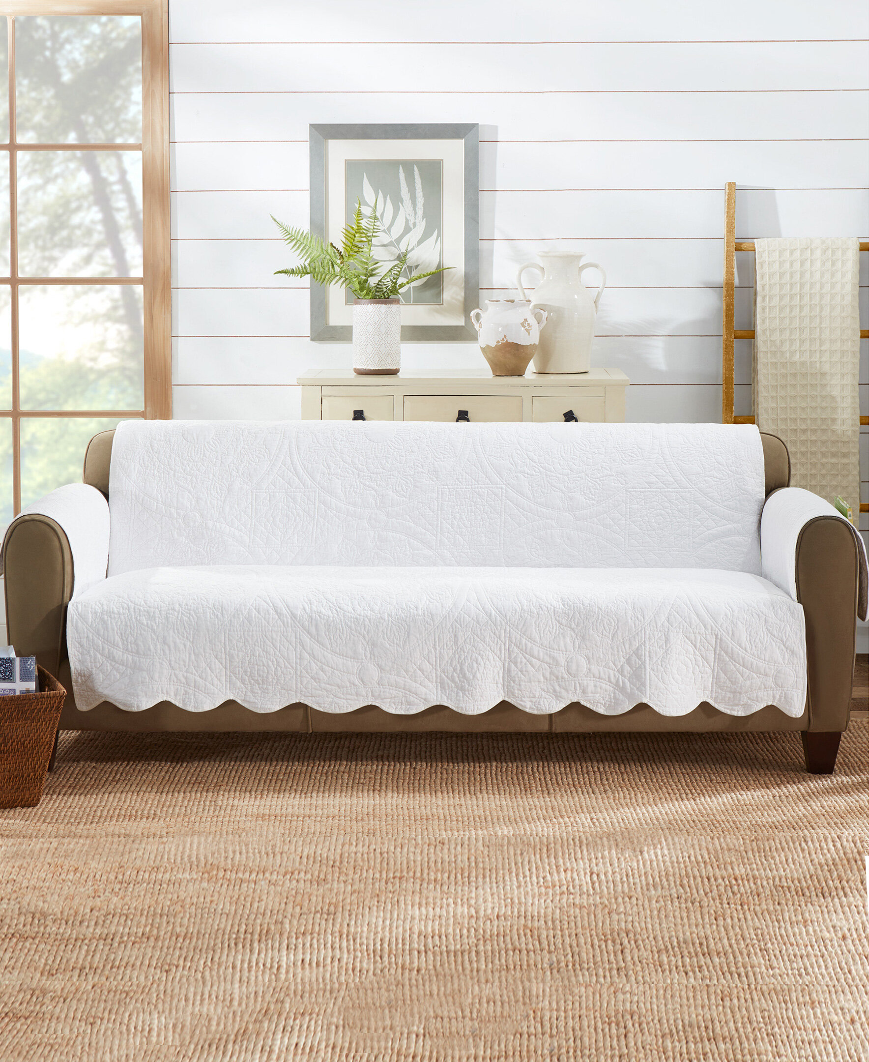 Sure Fit Heirloom Quilted Box Cushion Sofa Slipcover Reviews Wayfair