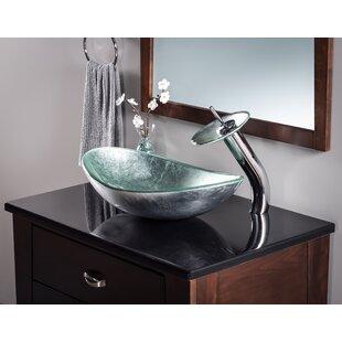 Novatto Argento Glass Oval Vessel Bathroom Sink
