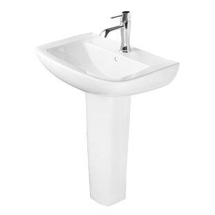 Ceramic 25 Pedestal Bathroom Sink with Overflow by Abolos