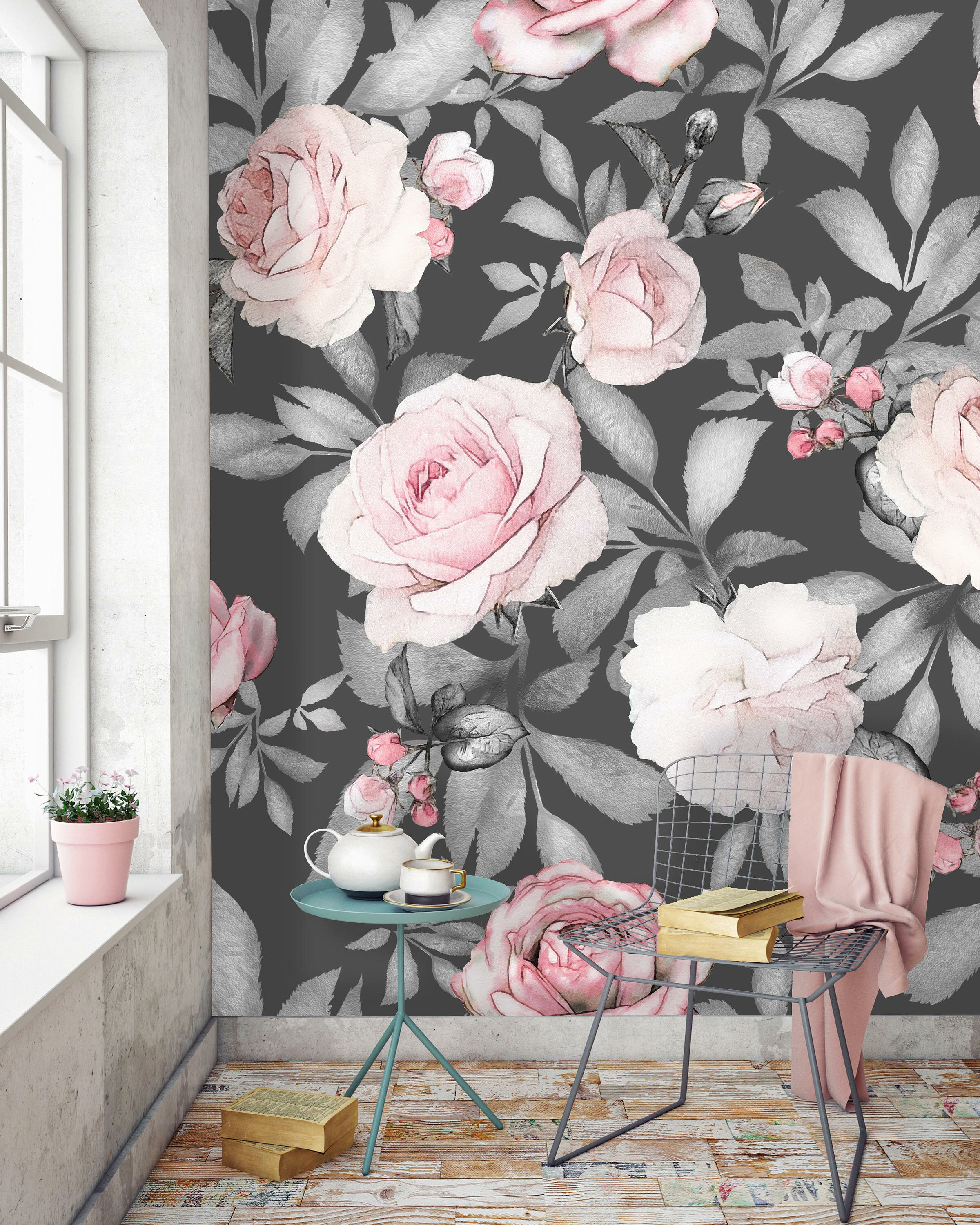 Removable Water-Activated Wallpaper Roses Red Black Flowers Florals Fashion