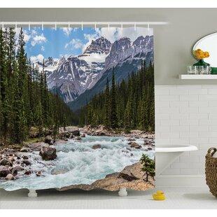 Limestone Creek in the Alberta Cold Winter Time Adventure Image Print Shower Curtain Set