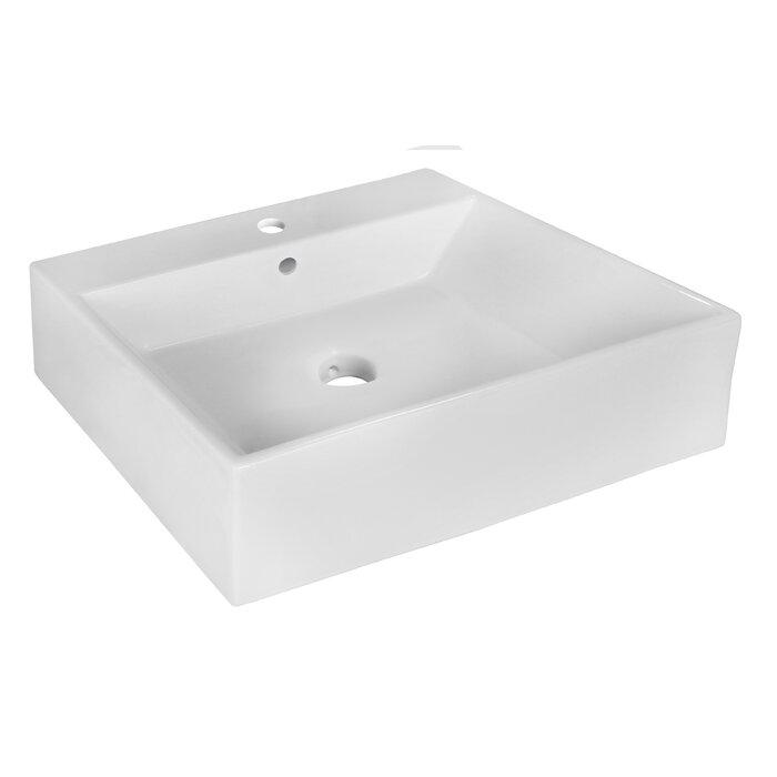 Lavabo de salle de bain rectangulaire rectangulaire en céramique avec  trop-plein