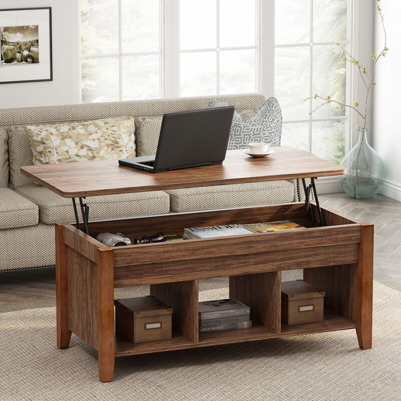 TribeSigns Lift Top Floor Shelf Coffee Table with Storage
