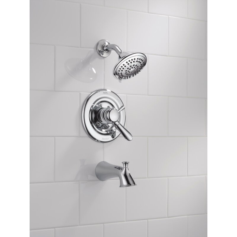 Lahara Tub and Shower Faucet Trim with Lever Handles and Monitor