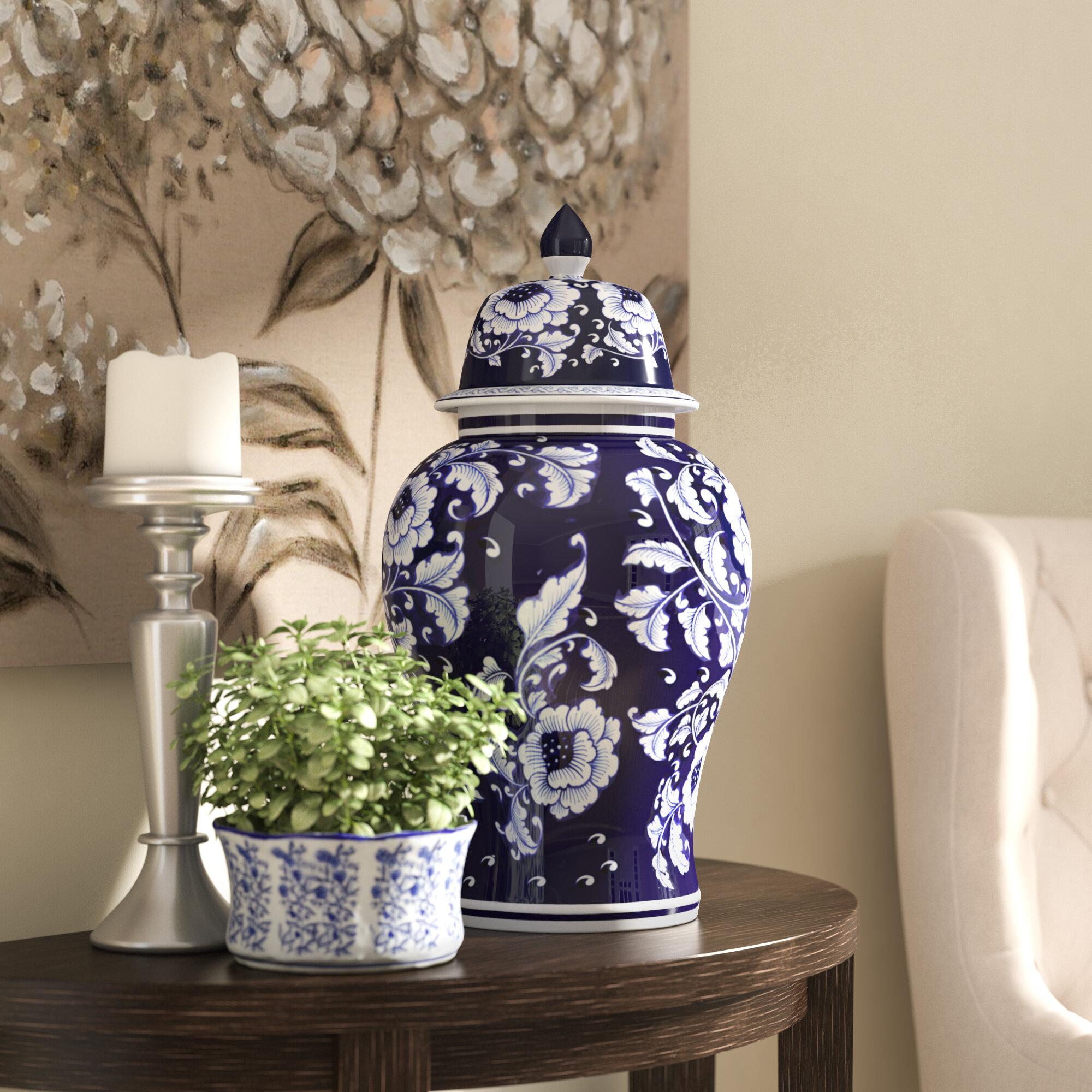 Alcott Hill Blue And White Ceramic Decorative Urn