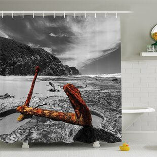 Ocean Weathered Aged Decayed Flaking Metal Anchor on the Beach by the Hills Shower Curtain Set